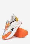 Biało-Pomarańczowe Sneakersy Aeleonoire