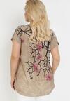 Ciemnobeżowy T-shirt Ethallis