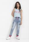 Niebiesko-Różowe Jeansy Vaffaye