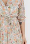 Miętowo-Pomarańczowa Sukienka Thronis