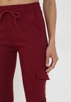 Bordowe Spodnie Joggery Uhrelin