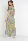 Żółto-Niebieska Sukienka Elinaith