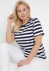 Granatowo-Biały T-shirt Lameriye