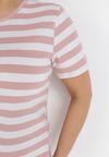 Jasnoróżowo-Biały T-shirt Lameriye