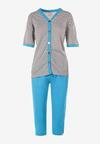 Szaro-Niebieski 2-Częściowy Komplet Piżamowy Saphadelia