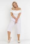 Białe Spodnie Luźne Pixissis