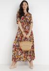 Granatowo-Pomarańczowa Sukienka Licheithes