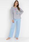 Szaro-Niebieski 2-Częściowy Komplet Piżamowy Raikaia