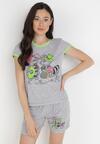Szaro-Zielony 2-Częściowy Komplet Piżamowy Zasdo
