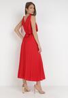 Czerwona Sukienka Z Paskiem Peisicia