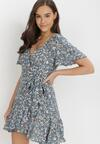 Niebieska Sukienka Kimocine