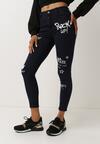 Granatowe Spodnie Skinny Oumorna