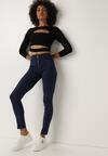 Granatowe Spodnie Skinny Gloimon