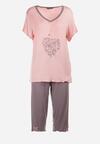 Szaro-Różowy Komplet Piżamowy Mezsyss