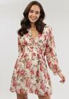 Beżowo-Różowa Sukienka Pinewood