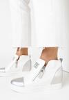 Biało-Srebrne Sneakersy Siliphe