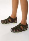 Czarno-Zielone Sandały Showers