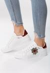 Biało-Czerwone Buty Sportowe Chambray