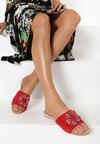 Czerwone Klapki Glamour Check