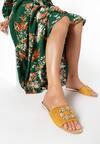 Żółte Klapki Glamour Check