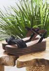 Czarne Sandały Striped Style
