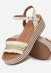 Jasnobeżowe Sandały Striped Style