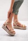 Ciemnobeżowe Sandały Striped Style