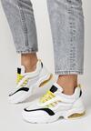 Biało-Żółte Sneakersy Natural Glisten