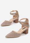 Szaro-Beżowe Sandały Phriete