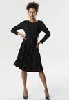 Czarna Sukienka Pleated Belted