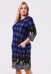 Czarno-Niebieska Sukienka Fleecy