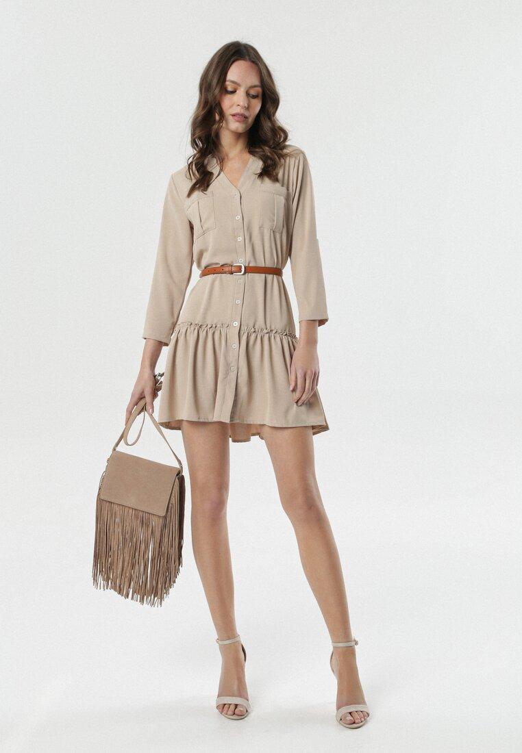 Jasnobeżowa Sukienka Lister