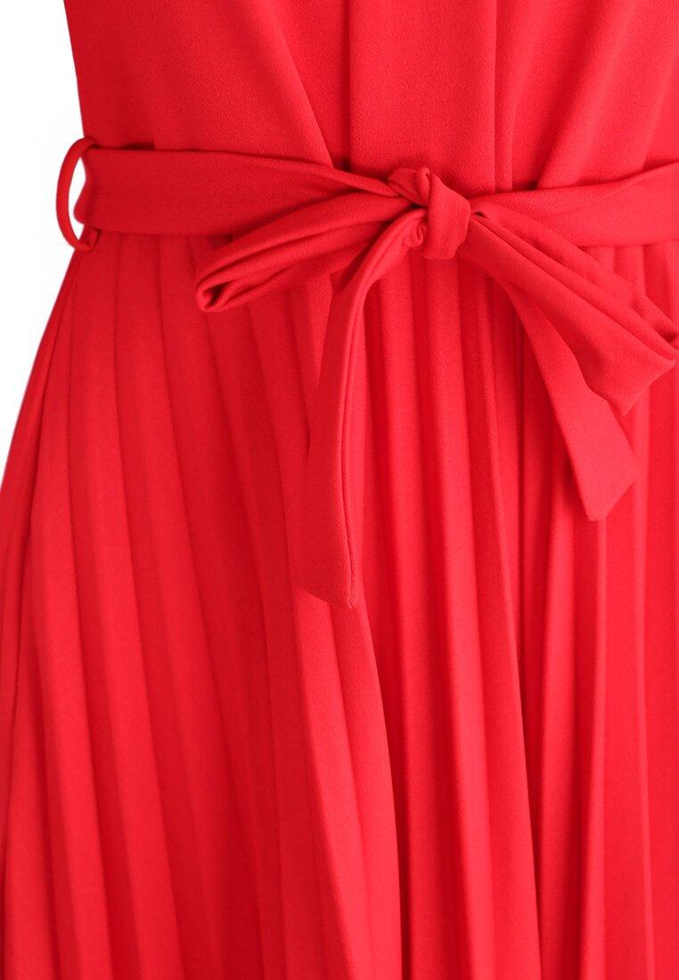 Czerwona Sukienka Pleated Belted