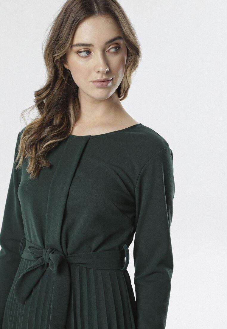 Ciemnozielona Sukienka Pleated Belted