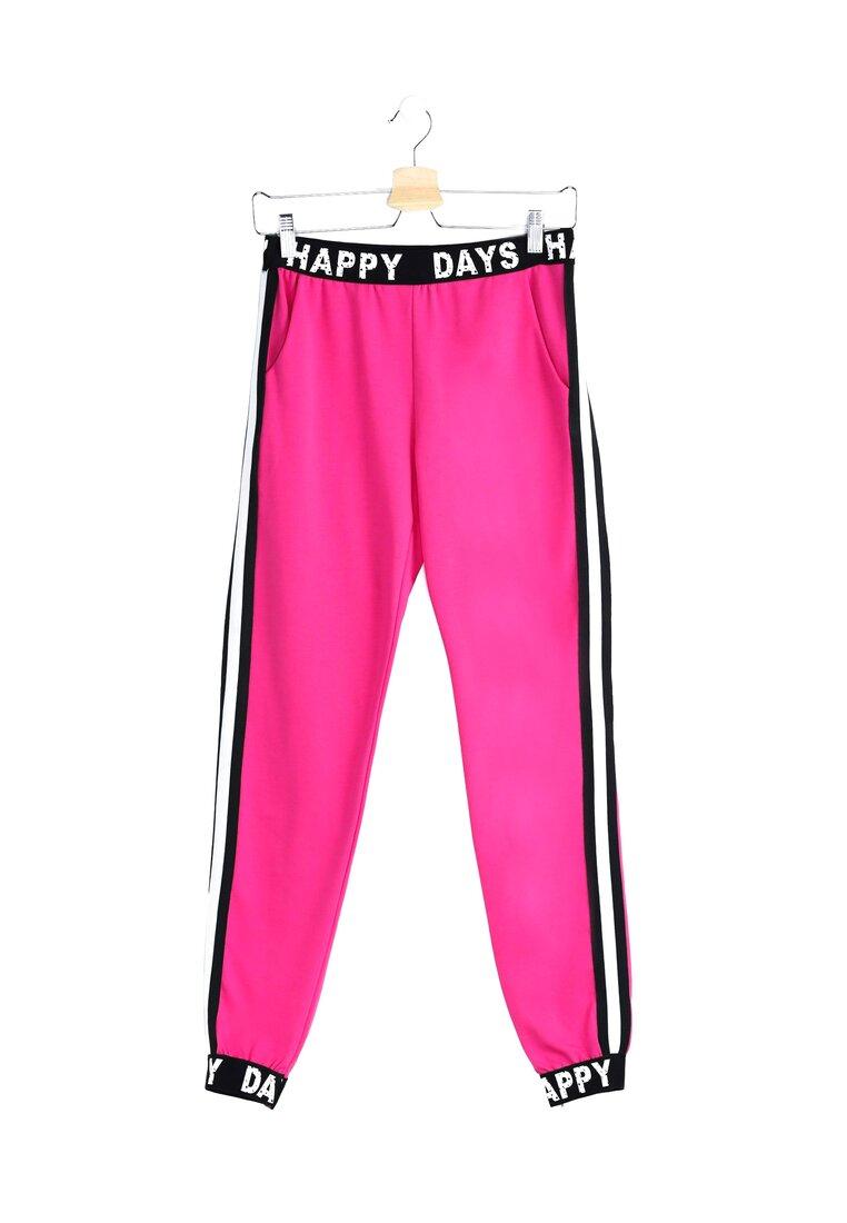 Fuksjowe Spodnie Dresowe Happy Days