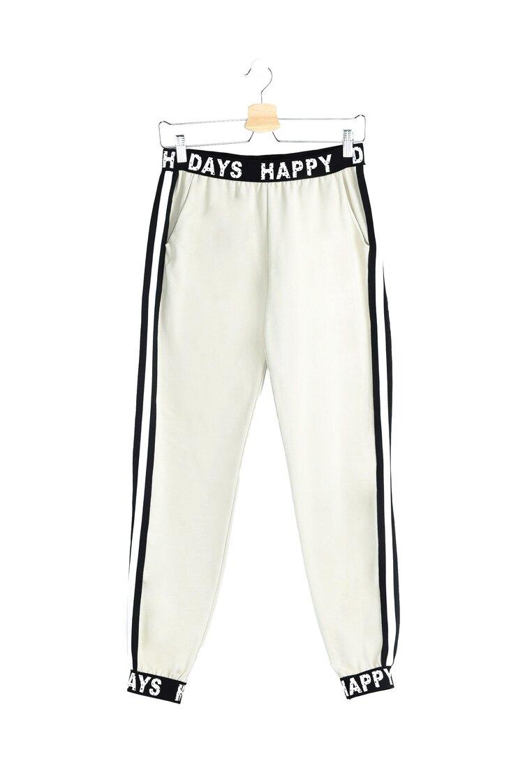 Beżowe Spodnie Dresowe Happy Days