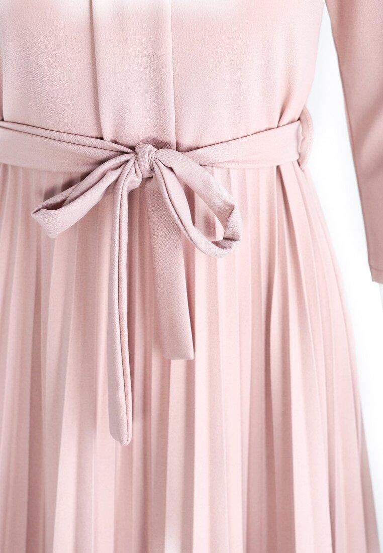 Jasnoróżowa Sukienka Pleated Belted
