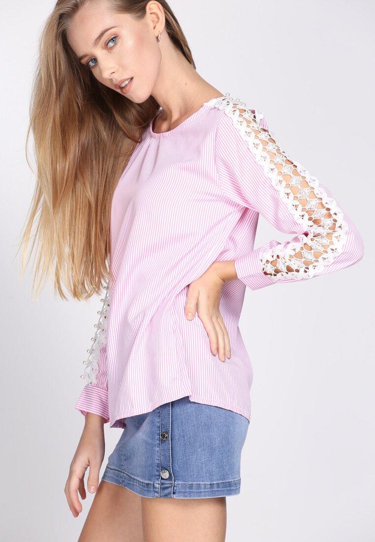 Różowa Bluzka Lace Sleeve