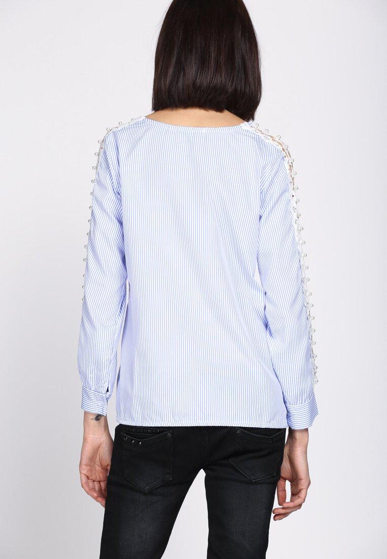 Niebieska Bluzka Lace Sleeve