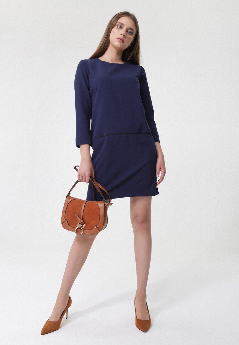 Granatowa Sukienka Nipping