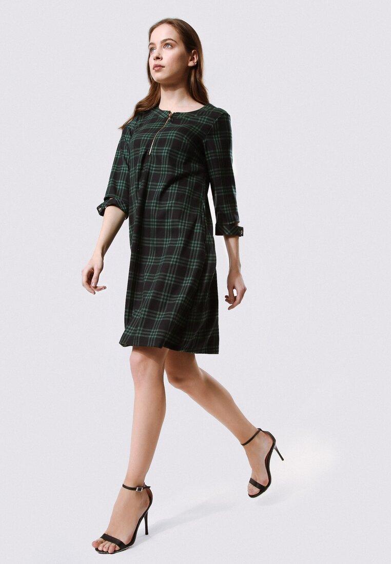 Granatowo-Zielona Sukienka Gravitate