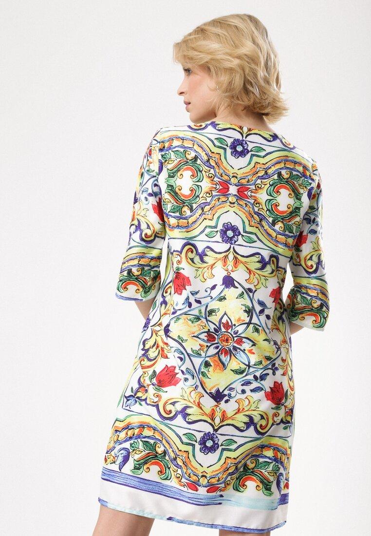 Biało-Żółta Sukienka Burnished