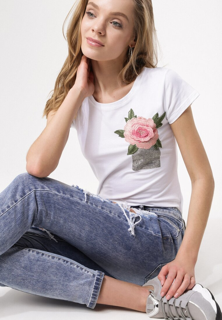 Biały T-shirt Turnover