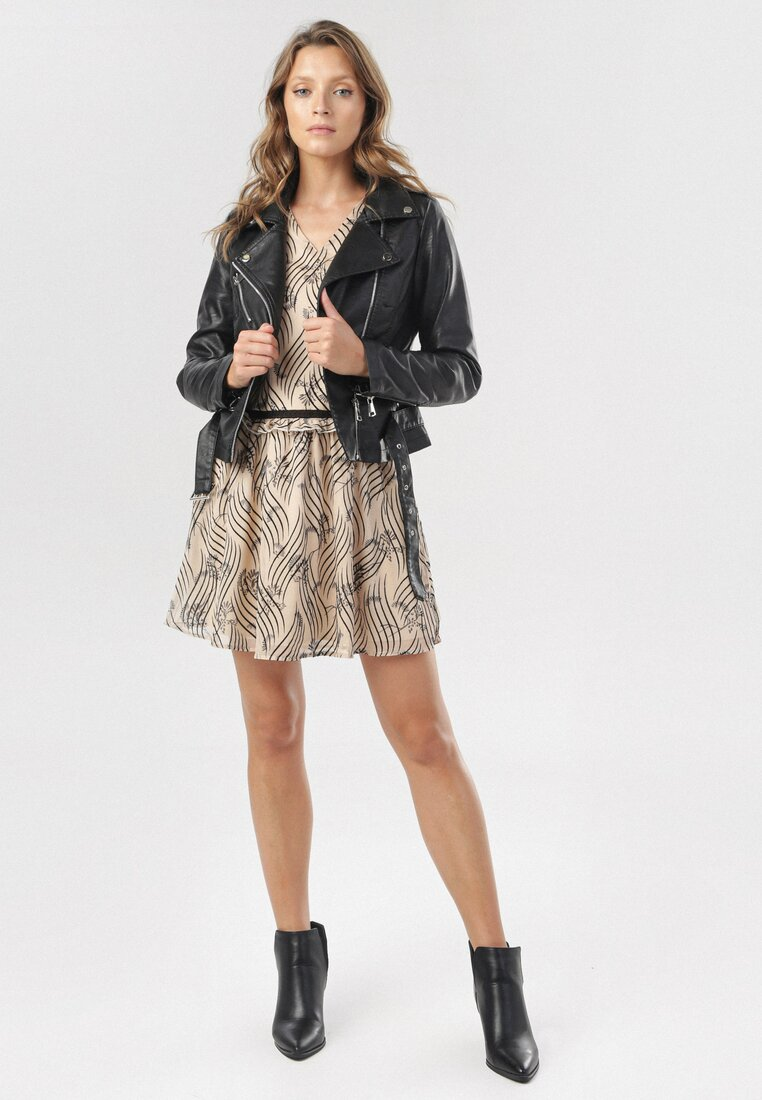 Beżowo-Czarna Sukienka Trindade