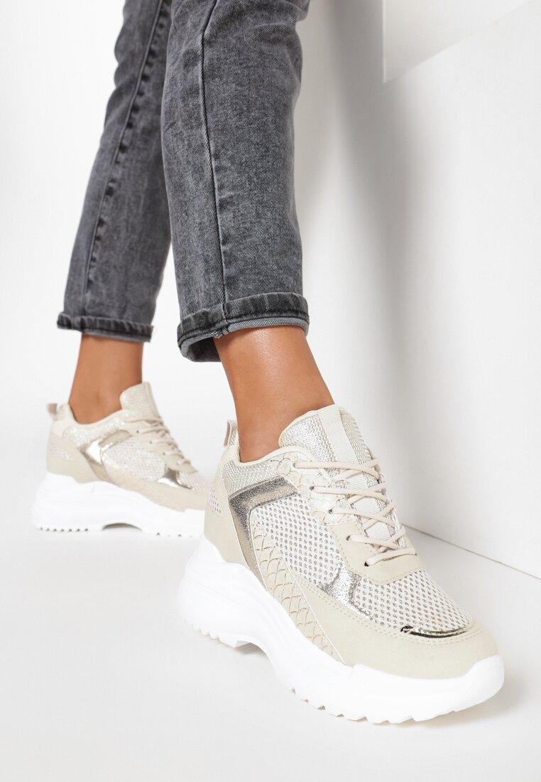 Beżowe Sneakersy na Ukrytym Koturnie Bretiax inny