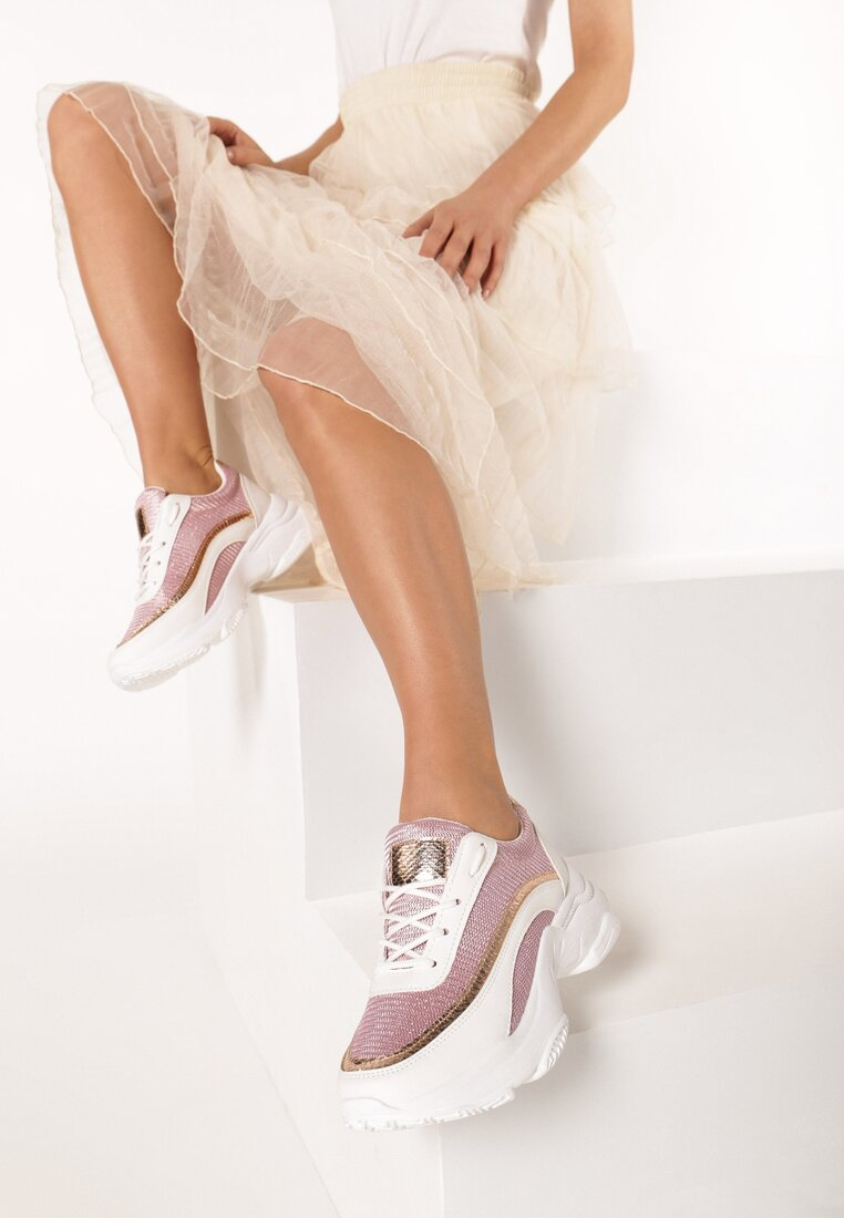 Biało-Różowe Sneakersy Merope inny
