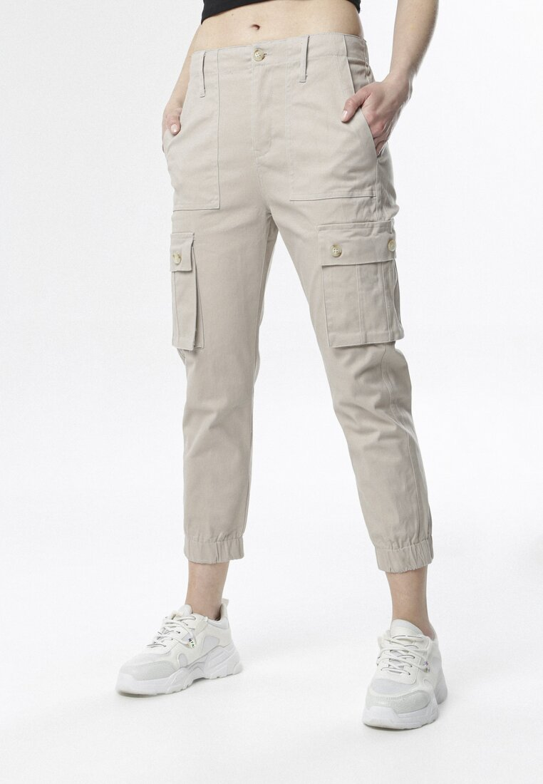Beżowe Spodnie Joggery Physadeia