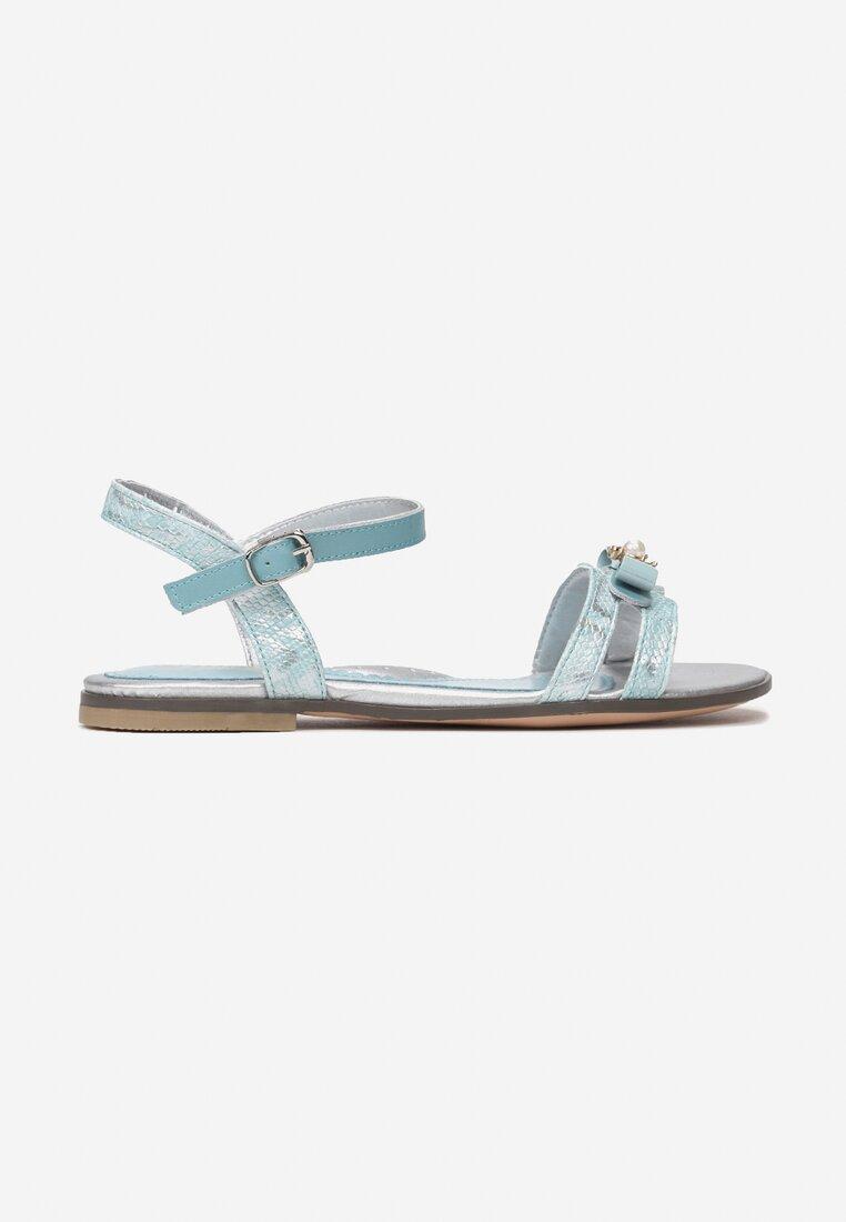Niebieskie Skórzane Sandały Dalineva