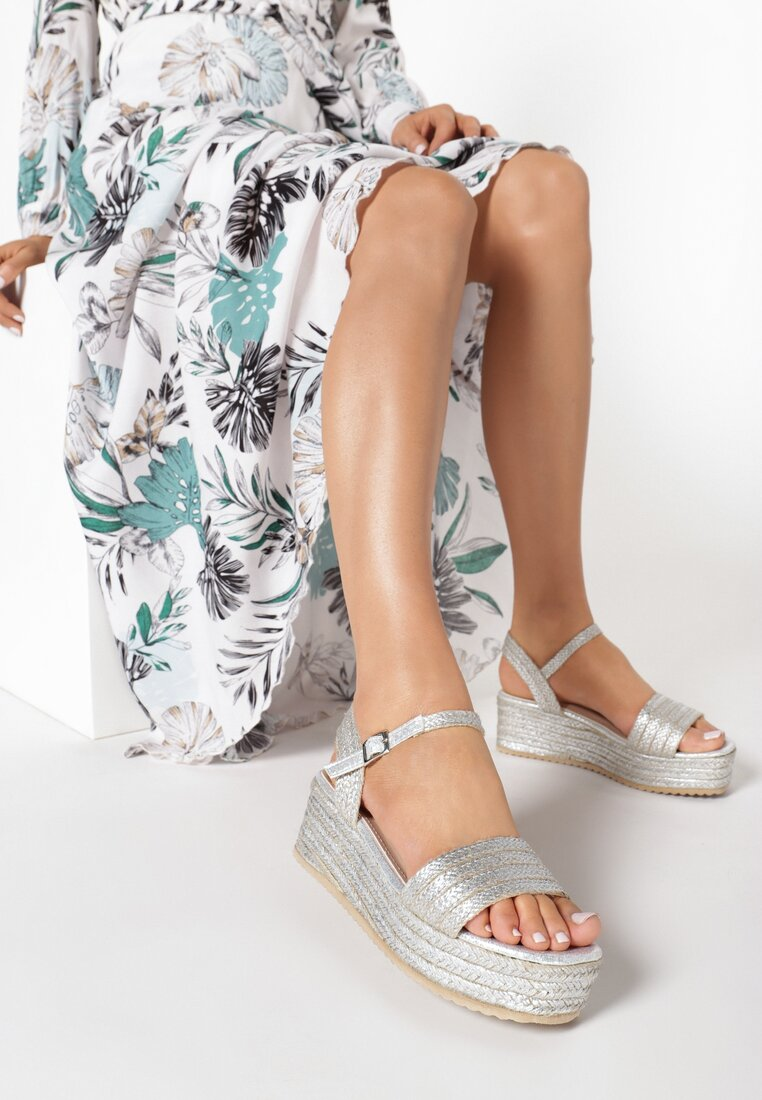 Srebrne Sandały Leuconia