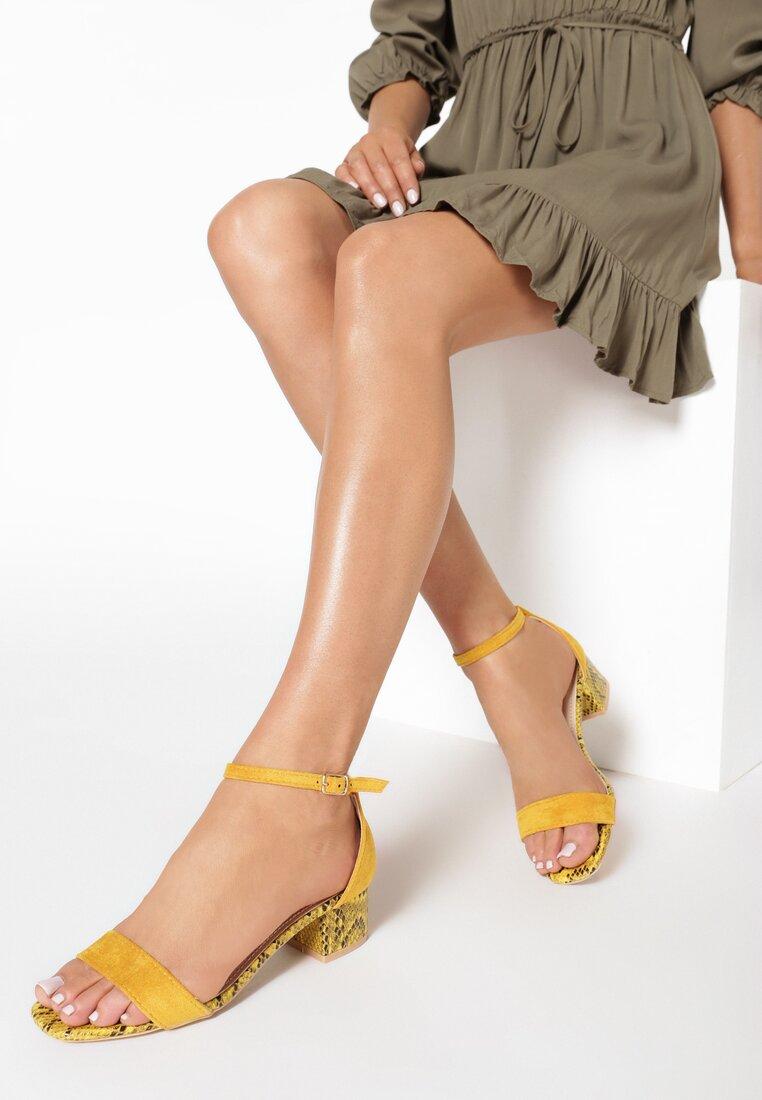 Żółte Wężowe Sandały Teseise
